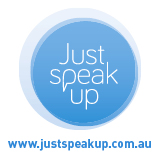 Just speak up logo regarding depression